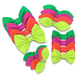Neon Leather Hair Bows - Gift for Girls-no slip leather hair bows no slip leather hair clips-Moo G Clips