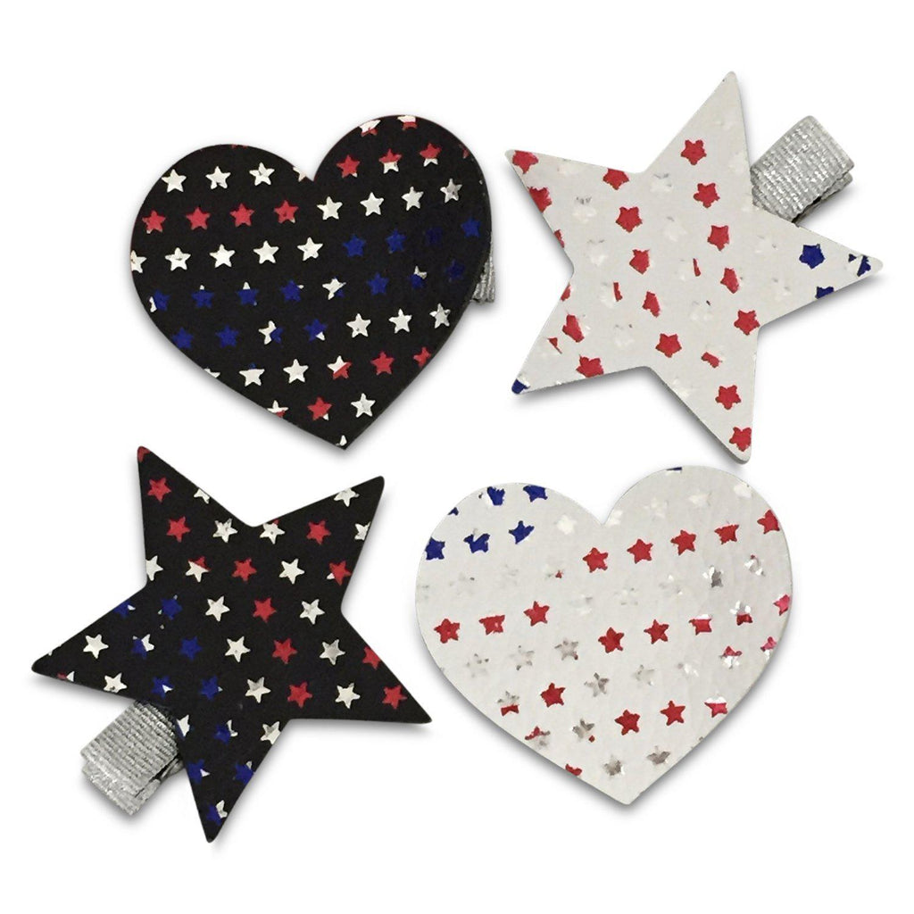 Patriotic Leather Hearts & Stars Hair Clips-no slip leather hair bows no slip leather hair clips-Moo G Clips
