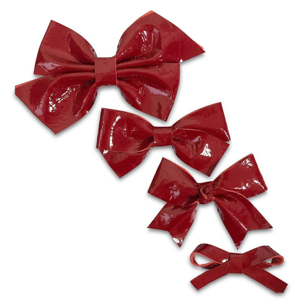 Red Patent Leather Hair Bows-no slip leather hair bows no slip leather hair clips-Moo G Clips