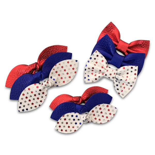 Red White & Blue July 4th Leather Hair Bows-no slip leather hair bows no slip leather hair clips-Moo G Clips