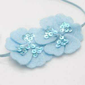 Moo G Clips no slip hair accessories - SequinFelt Flowers - Light Blue - 1