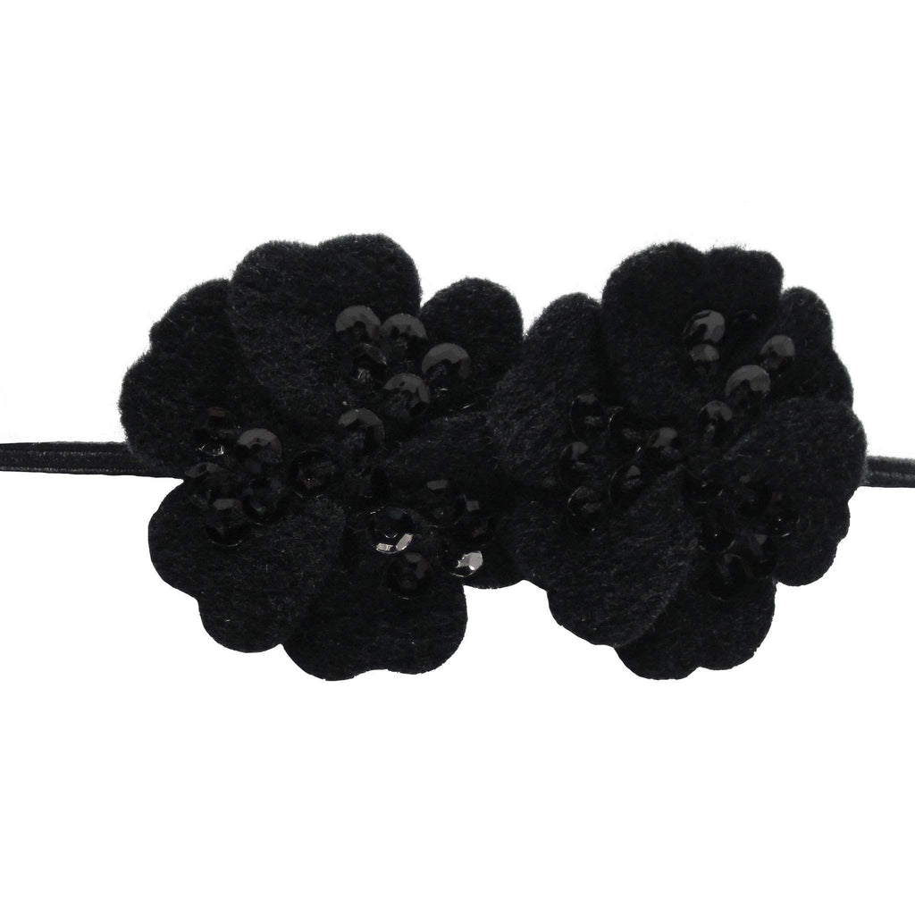 Moo G Clips no slip hair accessories - SequinFelt Flowers - Black - 7