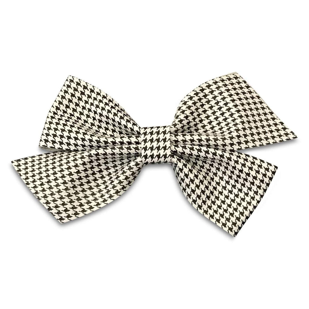 Small Houndstooth Leather Hair Bows-no slip leather hair bows no slip leather hair clips-Moo G Clips