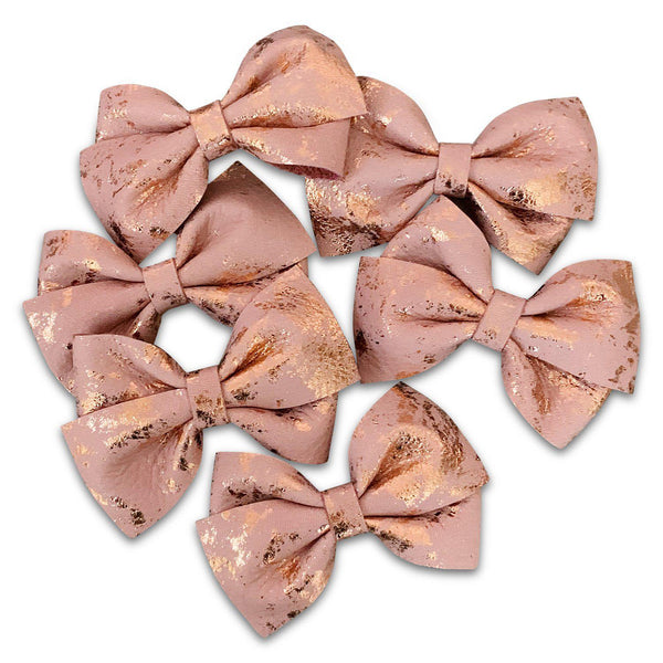 Valentine's Inspired Lucy Hair Bows-no slip leather hair bows no slip leather hair clips-Moo G Clips