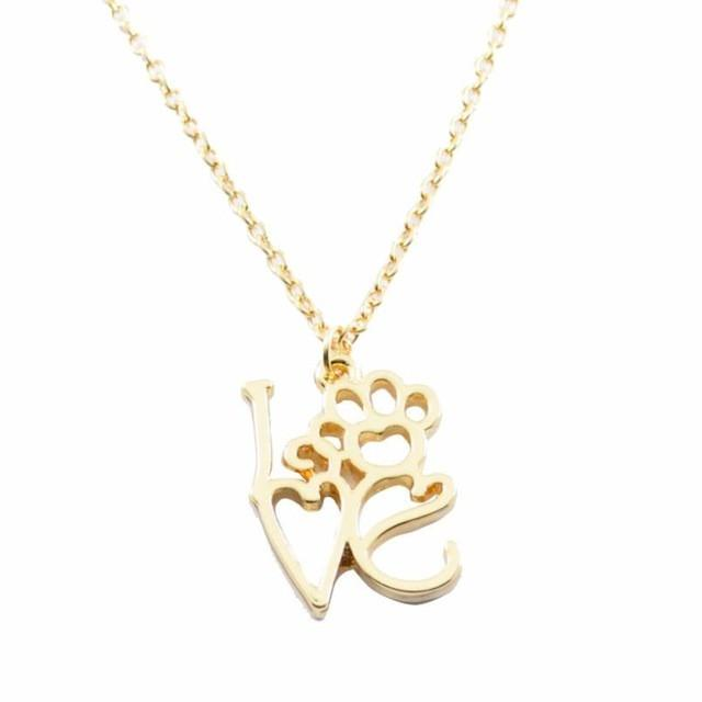 Fashion hollow love letter pendant necklace personality dog feet fashion hollow love letter pendant necklace personality dog feet chain love dog claw necklace gold silver 45 aloadofball Choice Image