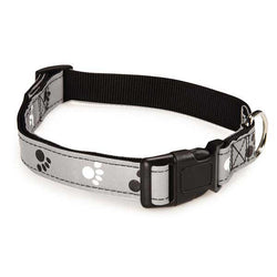gray reflective dog collar with pawprints