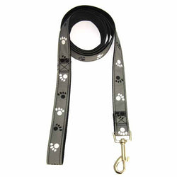 gray reflective dog leash with pawprint