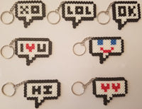 Chat bubble party favors - Set of 7 keychains or zipper pulls