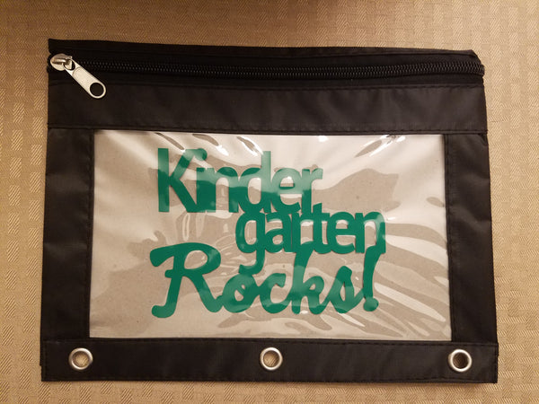 Kindergarten Rocks pencil pouch - Back to school!