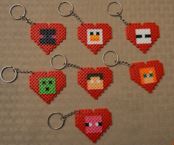 Mining game Valentine's - Set of 7 keychains or zipper pulls