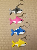 Shark party favors! Set of 4 keychains or zipper pulls
