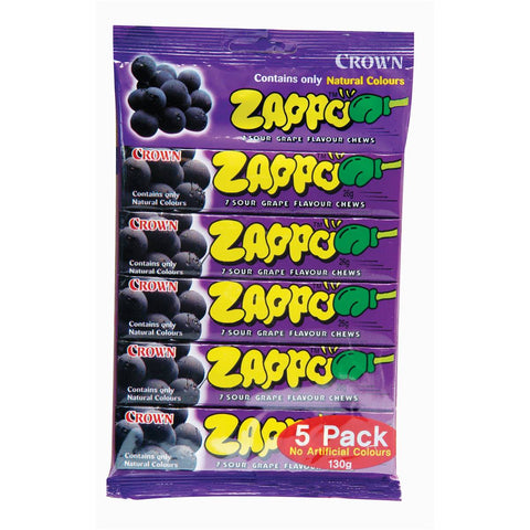 Zappo Fruit Chews Grape 5-Pack