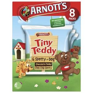 Arnotts Tiny Teddy Biscuits Chocolate + Spotty Dog 8 Pack x 9 (Bulk Value Box)