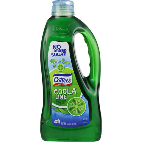 Cottee's Lime Coola Cordial 'NO ADDED SUGAR' 1L
