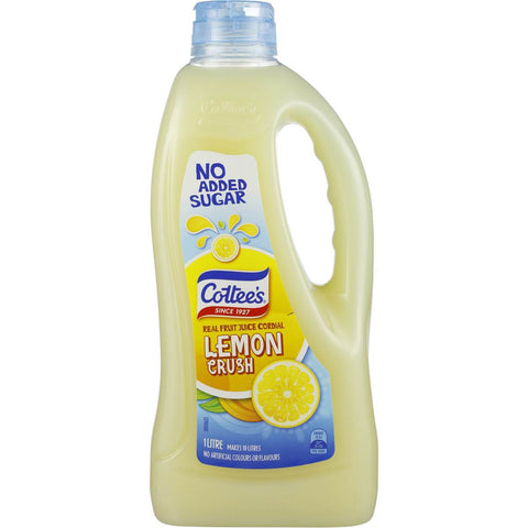 Cottee's Lemon Cordial 'NO ADDED SUGAR' 1L