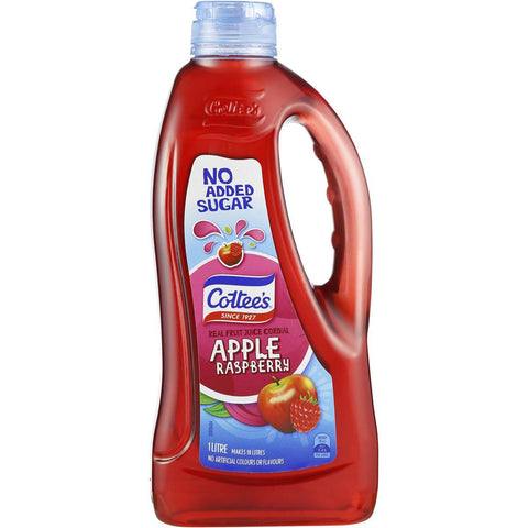 Cottee's Apple & Raspberry Cordial 'NO ADDED SUGAR' 1L