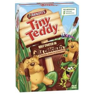 Arnotts Tiny Teddy Biscuits  Half Coated Chocolate 200g x 9 (Bulk Value Box)