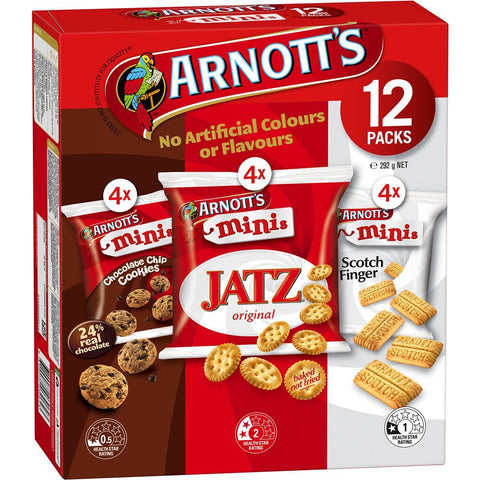 Arnotts Mini Variety Box: Mini Jatz, Choc Chip Cookies & Mini Scotch Finger 12 Pack (4 Of Each)