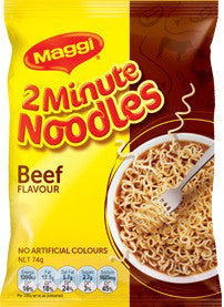 Maggi 2 Minute Noodles Beef 1 Pack x 24 (Bulk Value Box)