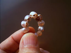 Japanese Artist Carves Pearls Into Skull Jewelry