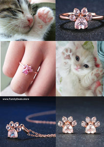 Cute Cat Paw Jewelry - Ring, Necklace, Earrings - Family Deals