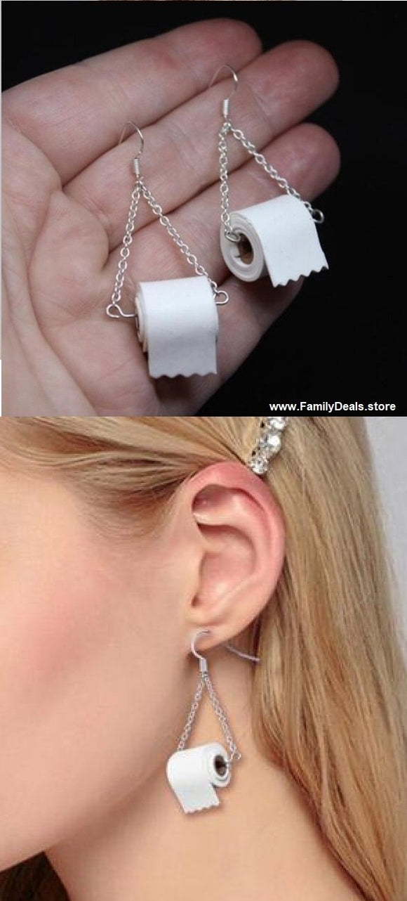 Toilet Paper Earrings (Sterling Silver) - Best Gift of 2020 - Family Deals