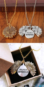 You Are A Badass Sunflower Necklace - Family Deals