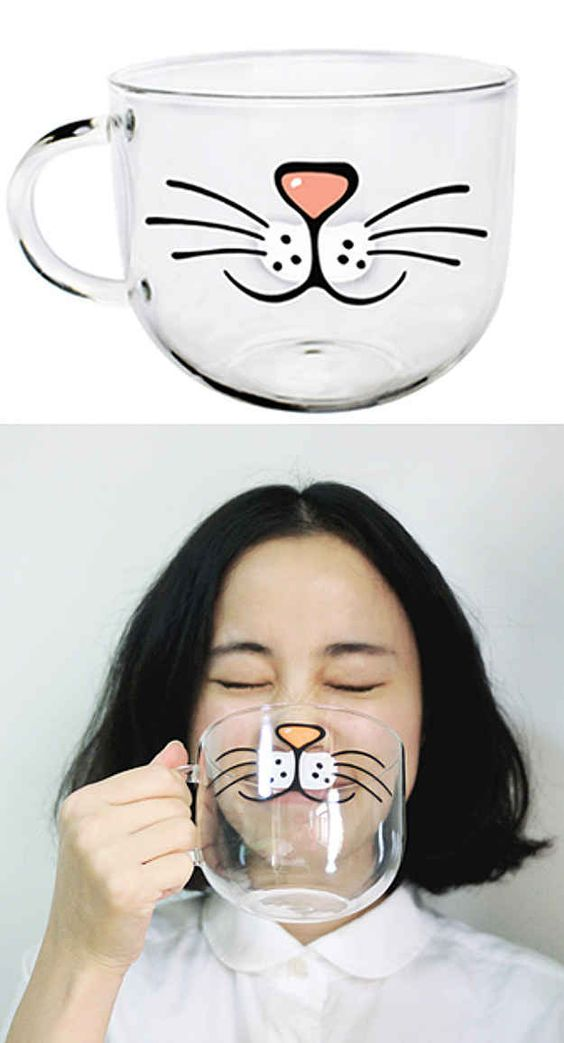Purrrrrfect Handmade Cat Nose Glass Coffee / Tea Mug