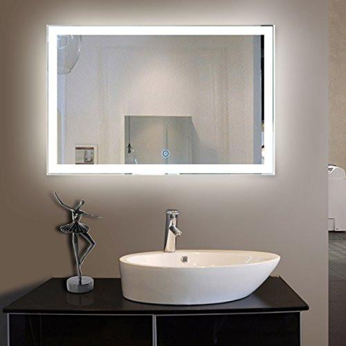 Family Deals 55 x 36 in LED Decorative Bathroom Silvered Mirror with Touch Button (D-N031-C)