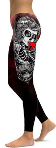 "Family Deals clothing BLACK ""KISS OF DEATH"" SUGAR SKULL SKELETON PATTERNED PRINTED LEGGINGS FOR WOMEN"