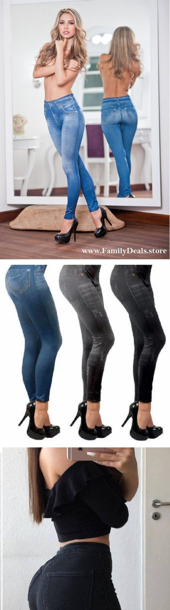 Family Deals clothing Blue, Back, Gray Denim Push Up Leggings for Women. Tight, Trendy, Stylish High Waisted Leggings
