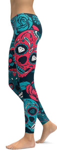 Family Deals clothing BLUE SUGAR SKULL PRINTED, DAY OF THE DEAD WORKOUT LEGGINGS FOR WOMEN - Immortal Yoga Collection