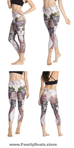 Family Deals clothing CAPRI SUGAR SKULL PRINTED, DAY OF THE DEAD WORKOUT LEGGINGS FOR WOMEN - Immortal Yoga Collection