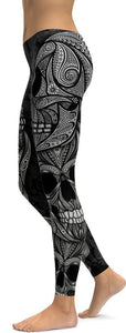 """BLACK SUGAR SKULL PRINTED, DAY OF THE DEAD WORKOUT LEGGINGS FOR WOMEN"" - Immortal Yoga Collection - Family Deals"