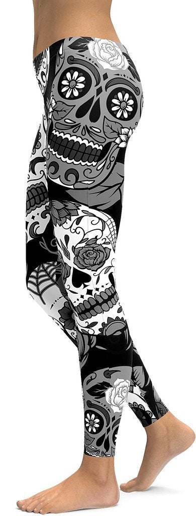 Family Deals clothing L BLACK & WHITE SUGAR SKULL PRINTED, DAY OF THE DEAD WORKOUT LEGGINGS FOR WOMEN - Immortal Yoga Collection