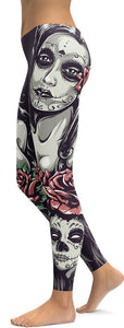 Family Deals clothing La Calavera Catrina SUGAR SKULL PATTERNED PRINT LEGGINGS FOR WOMEN - Immortal Yoga Colection