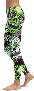 LIME GREEN SUGAR SKULL PRINTED, DAY OF THE DEAD WORKOUT LEGGINGS FOR WOMEN - Immortal Yoga Collection - Family Deals