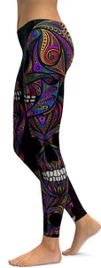 Family Deals clothing Multi Colored SUGAR SKULL PRINTED, DAY OF THE DEAD WORKOUT LEGGINGS FOR WOMEN - Immortal Yoga Collection