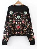 Family Deals clothing Oversized Floral Embroidered Sweater