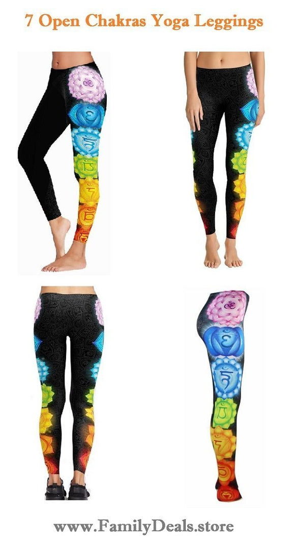 Family Deals clothing Seven Chakra Opening Womens Printed Patterned Yoga Leggings
