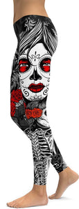 "Family Deals clothing Skeleton ""La Calavera Catrina"" SUGAR SKULL PATTERNED PRINT LEGGINGS FOR WOMEN - Immortal Yoga Colection"