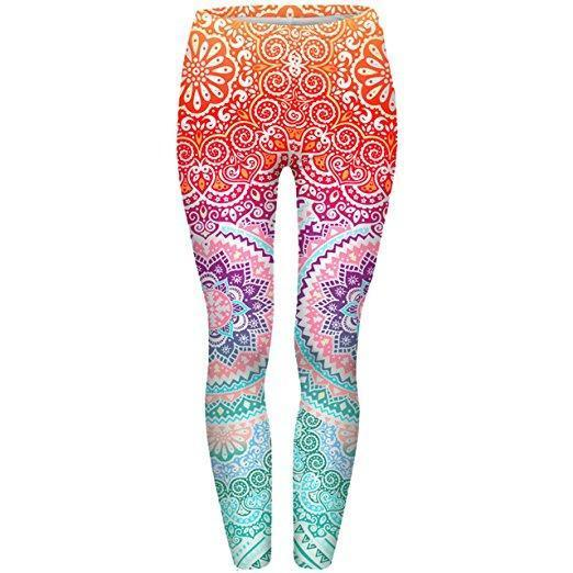 Family Deals clothing Solar Plexus / One Size Ombre Mandala Leggings - Eco-Friendly Flower Print Yoga Leggings for women