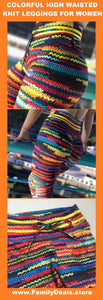 """Rainbow Knit"" Women's colorful striped knit cotton wool yoga / gym / dance leggings - Also in Plus Size - Family Deals"