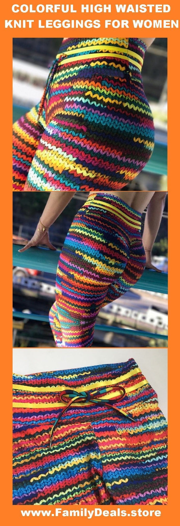 Family Deals clothing Women's colorful striped knit cotton wool yoga / gym / dance leggings - Also in Plus Size