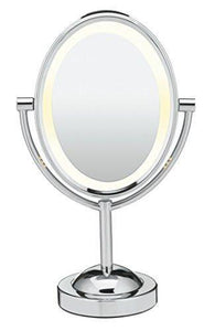 Family Deals Conair Oval Shaped Double-Sided Lighted Makeup Mirror, 1x/7x magnification, Polished Chrome Finish