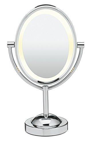 Conair Oval Shaped Double-Sided Lighted Makeup Mirror, 1x/7x magnification, Polished Chrome Finish - Family Deals