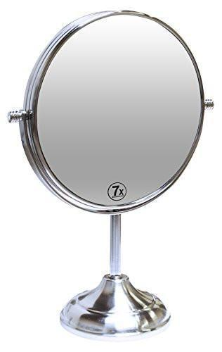 Family Deals Decobros 8-inch LARGE Tabletop Two-sided Swivel Vanity Mirror with 7x Magnification, 13-inch Height