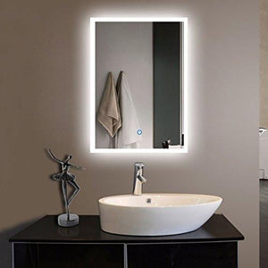 DECORAPORT 20 Inch 28 Inch Vertical LED Wall Mounted Lighted Vanity Bathroom Silvered Mirror with Touch Button (A-N031-H) - Family Deals