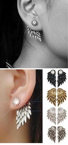 Family Deals Earrings Guardian Angel Wings Stud Earrings - Silver, Gold, Gunmetal, Black