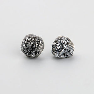 Family Deals Earrings Druzy Stud Earrings - Gold, Silver, Titanium, Rainbow